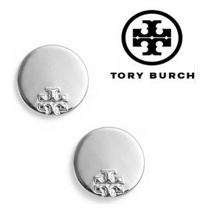 ■Tory Burch■ Silver Serif Disc Stud Earrings
